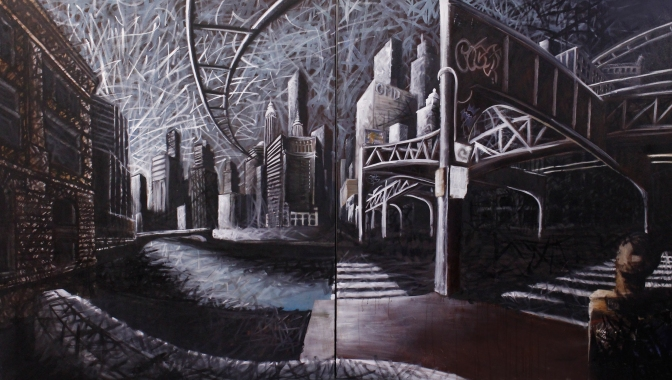 """""""City Space No. 8 (Ordering Capacities),"""" 2014, oil on canvas, 6 x 11 ft (diptych)."""