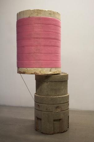 2014, concrete, styrofoam, foam sill gasket, Sonotube and steel, 90 x 72 x 195 cm.