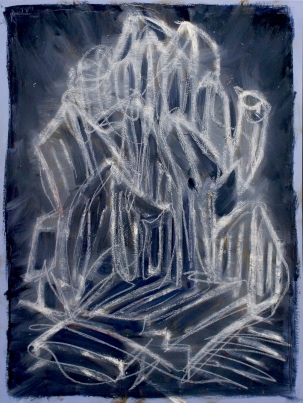 """""""City Space No. 9 (Blue One)"""" 2014, oil on canvas, 75 x 100 cm."""