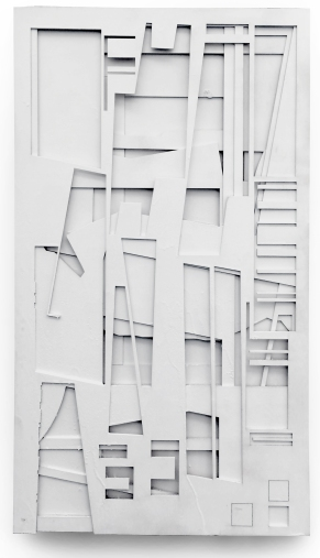 """Offcuts,"" 2016, spay paint on baltic birch ply, 18 x 32 in."