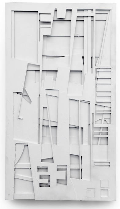 """""""Offcuts,"""" 2016, spay paint on baltic birch ply, 18 x 32 in."""