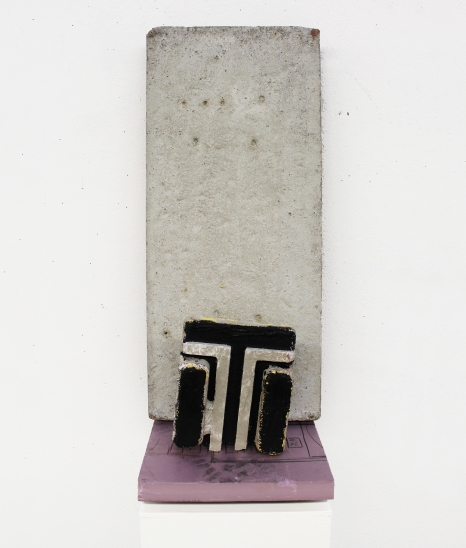 """LG TV,"" 2015, foam insulation board, acrylic paint and concrete, 2 x 1 x 1 ft."