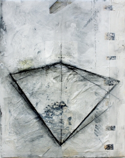 """Untitled,"" 2015, acrylic, charcoal and paper on linen and canvas, 2 x 2.5 ft."