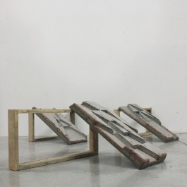 """Positives (from 'Adding Up'),"" 2015, concrete and wood, 120 x 120 x 30 cm."