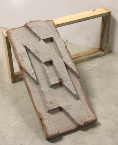 """""""Positive #1,"""" 2015, concrete and wood, 60 x 60 x 30 cm."""