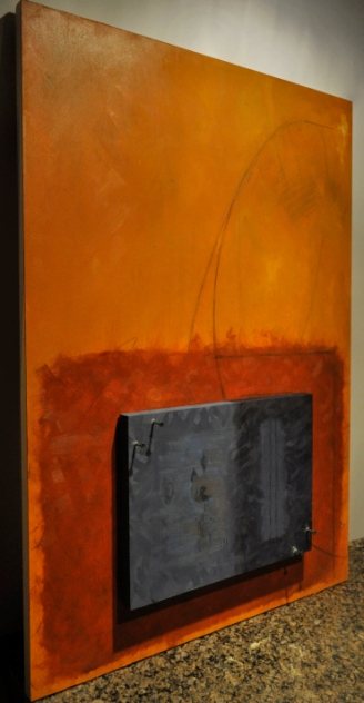 """Zombie Formalism,"" 2014, oil on panel, 60 x 90 cm. Variable depth."