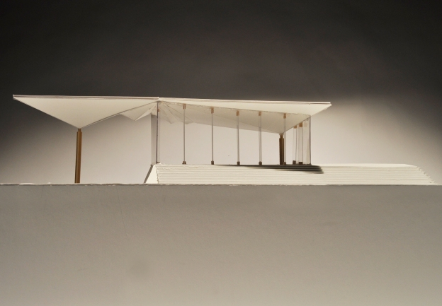 """2.2 Sectional Model of West Facade, Plovdiv Museum over Roman Ruins,"" museum board and balsa wood, Scale 1:50."